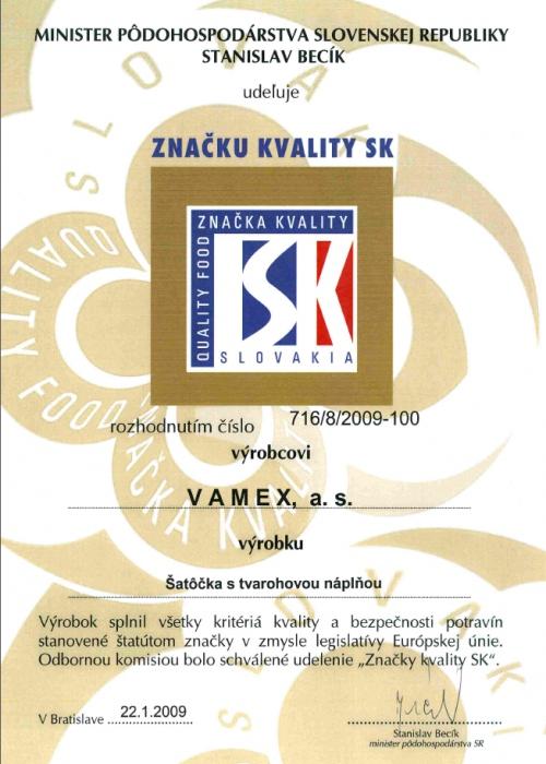 2009 - Značka kvality SK - Šatôčka s tvarohovou nápňou - VAMEX, a.s. Košice