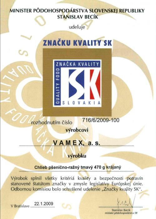 2009 - Značka kvality SK - Chlieb pšenično-ražný tmavý - krájaný - VAMEX, a.s. Košice