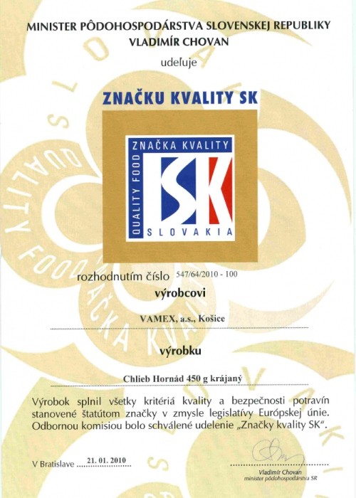 2010 - Značka kvality SK - Chlieb Hornád - krájaný - VAMEX, a.s. Košice