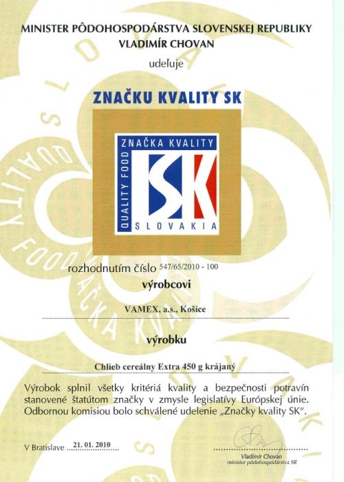 2010 - Značka kvality SK - Chlieb cereálny EXTRA - krájaný - VAMEX, a.s. Košice