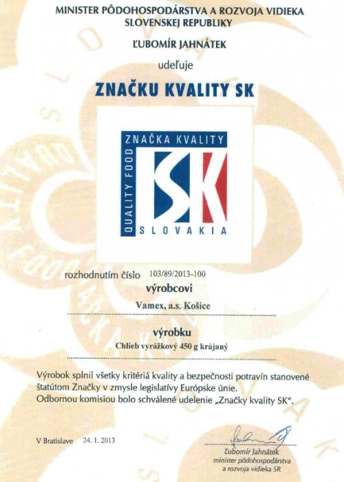 2013 - Značka kvality SK - Chlieb vyrážkový - krájaný - VAMEX, a.s. Košice