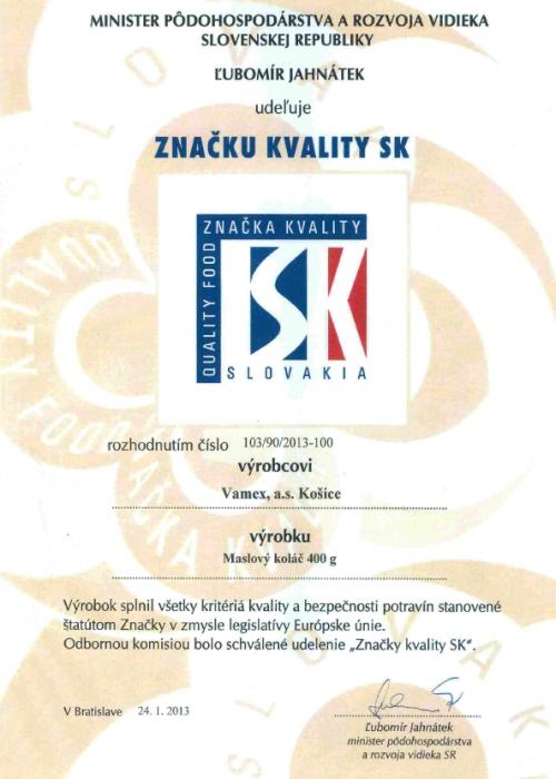 2013 - Značka kvality SK - Maslový koláč - VAMEX, a.s. Košice