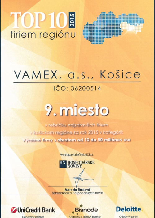 2015 - TOP 10 firiem regiónu - VAMEX, a.s. Košice
