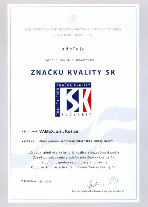 2015 - Značka kvality SK - Chlieb pšenično - ražný tmavý - balený krájaný - VAMEX, a.s. Košice