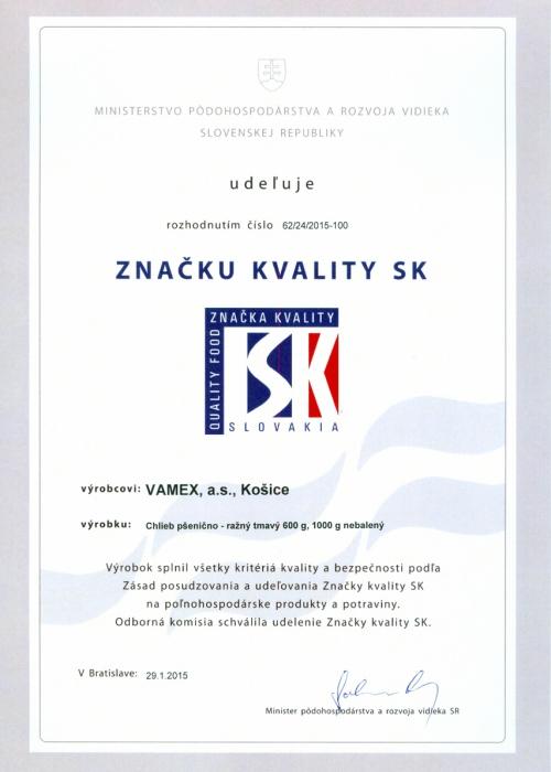 2015 - Značka kvality SK - Chlieb pšenično - ražný tmavý - nebalený - VAMEX, a.s. Košice