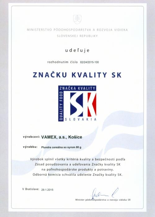 2015 - Značka kvality SK - Pľundra cereálna so syrom - VAMEX, a.s. Košice