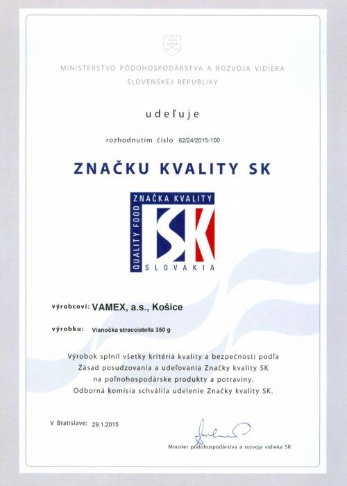 2015 - Značka kvality SK - Vianočka Stracciatella - VAMEX, a.s. Košice