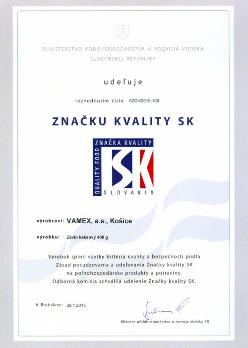 2015 - Značka kvality SK - Závin kakaový - VAMEX, a.s. Košice