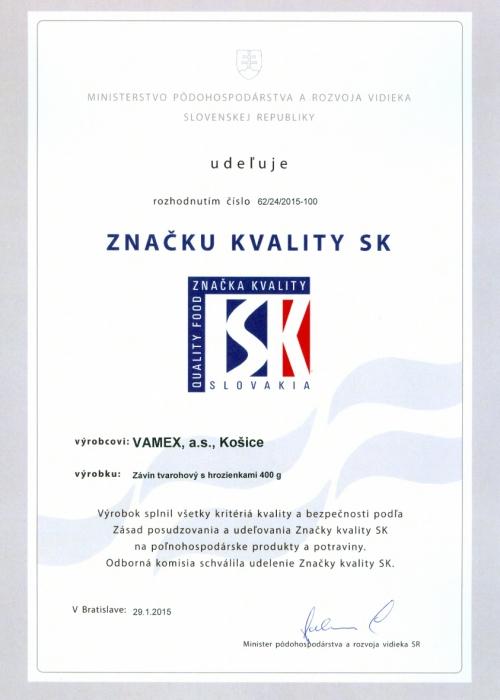 2015 - Značka kvality SK - Závin tvarohový s hrozienkami - VAMEX, a.s. Košice