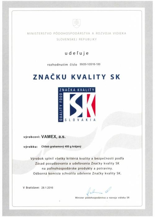 2016 - Značka kvality SK - Chlieb grahamový - krájaný - VAMEX, a.s. Košice