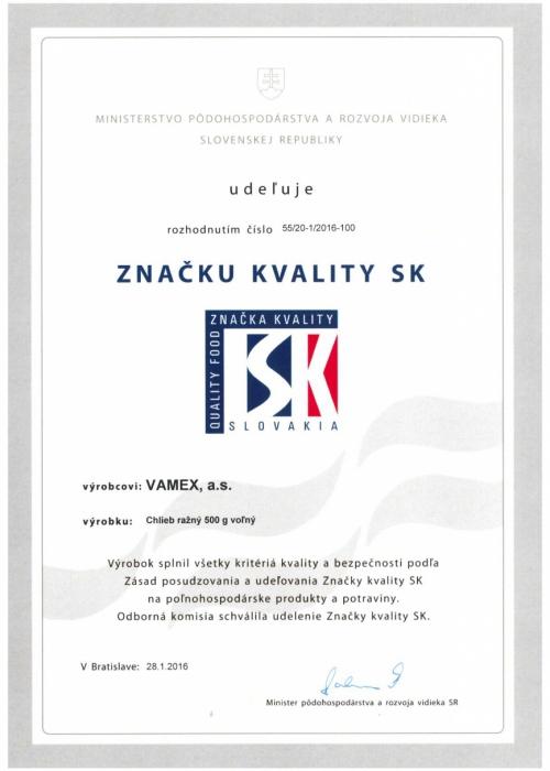 2016 - Značka kvality SK - Chlieb ražný - voľný - VAMEX, a.s. Košice