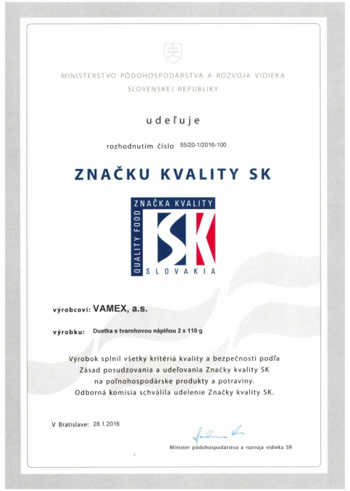 2016 - Značka kvality SK - Duetka s tvarohovou náplňou - VAMEX, a.s. Košice