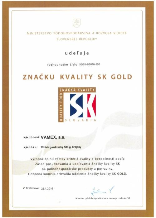 2016 - Značka kvality SK GOLD - Chlieb gazdovský krájaný - VAMEX, a.s. Košice