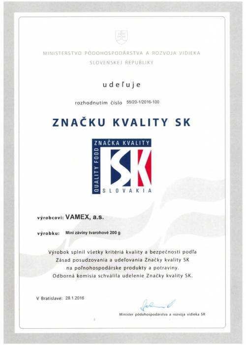 2016 - Značka kvality SK - Mini záviny tvarohové - VAMEX, a.s. Košice