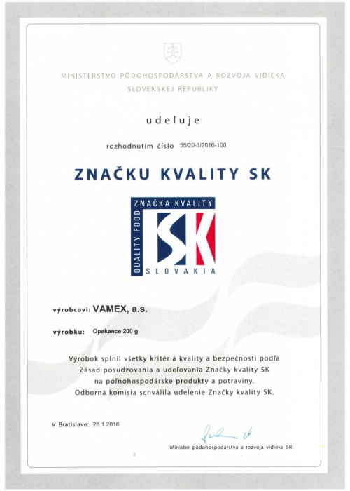 2016 - Značka kvality SK - Opekance - VAMEX, a.s. Košice