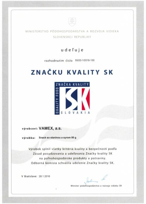 2016 - Značka kvality SK - Snack so slaninou a syrom - VAMEX, a.s. Košice