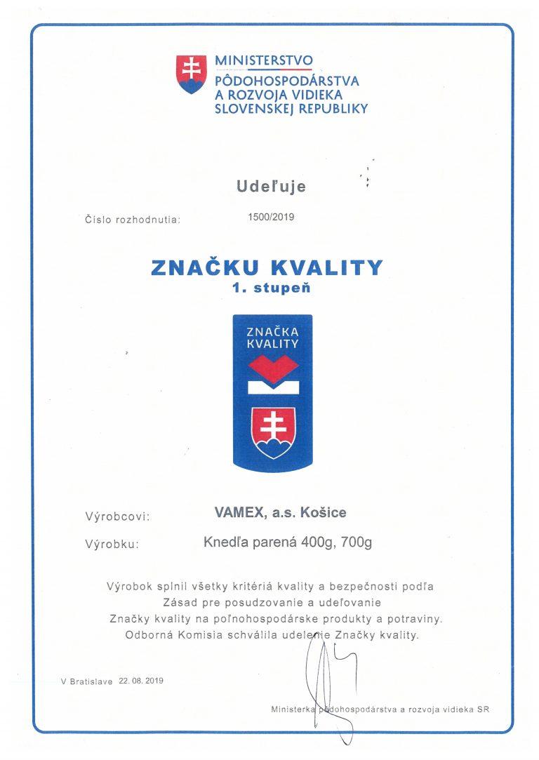 2019 - Značka kvality SK 1. stupeň - Knedľa parená - VAMEX, a.s. Košice