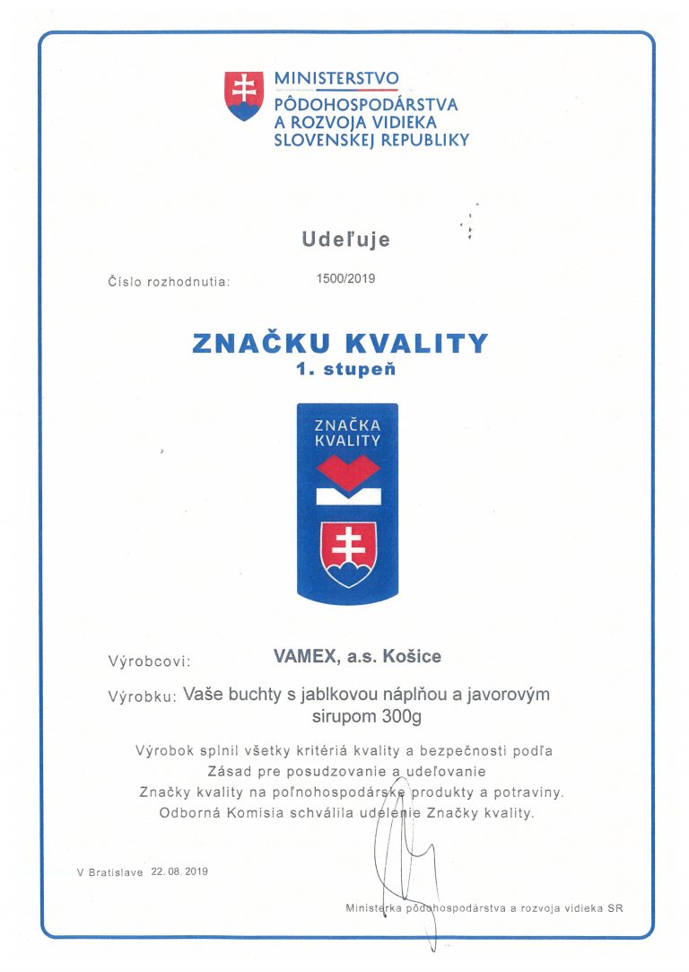 2019 - Značka kvality SK 1. stupeň - Vaše buchty s jablkovou náplňou a javorovým sirupom - VAMEX, a.s. Košice