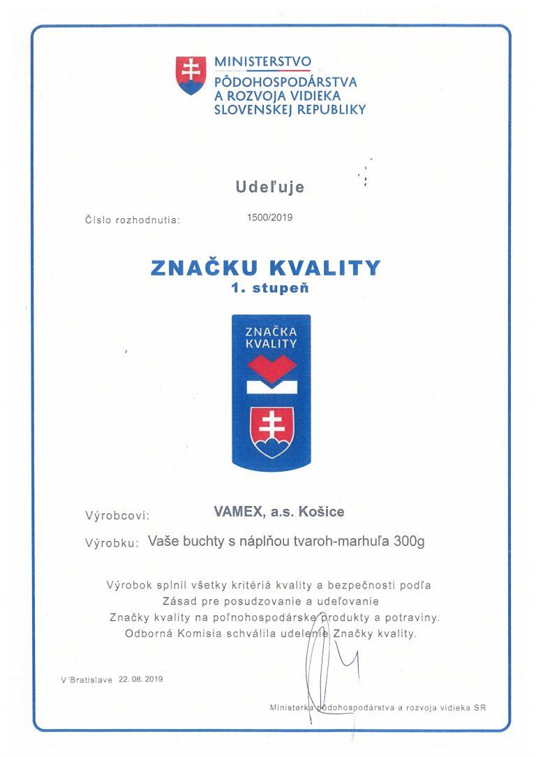 2019 - Značka kvality SK 1. stupeň - Vaše buchty s náplňou tvaroh-marhuľa - VAMEX, a.s. Košice